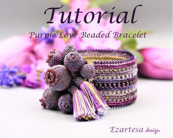 Beading Tutorial, Purple Love Beaded Statement Bracelet with Garnet Gemstone Beads and Seed Beads by Ezartesa