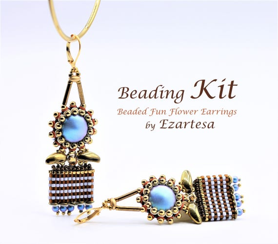 Earrings Beading Kit, Fun Flower Dangle Earring Kit - Includes Instructions and Materials by Ezartesa