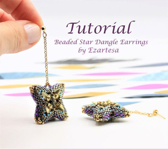Beaded Bead Dangle Earrings Tutorial, Beaded Star Earrings Pattern with Glass Seed Beads and Swarovski Crystals by Ezartesa.
