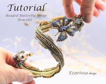 Beading Pattern, Beaded Butterfly Wrap Bracelet Tutorial by Ezartesa