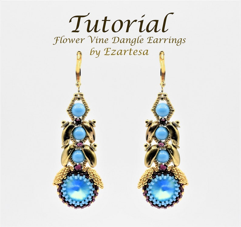 df5e6c4b7fcb3 Turquoise Flower Vine Dangle Earrings Tutorial with Gold Seed Beads and  Swarovski Crystal Turquoise Pearls, Rivolis. Designed by Ezartesa