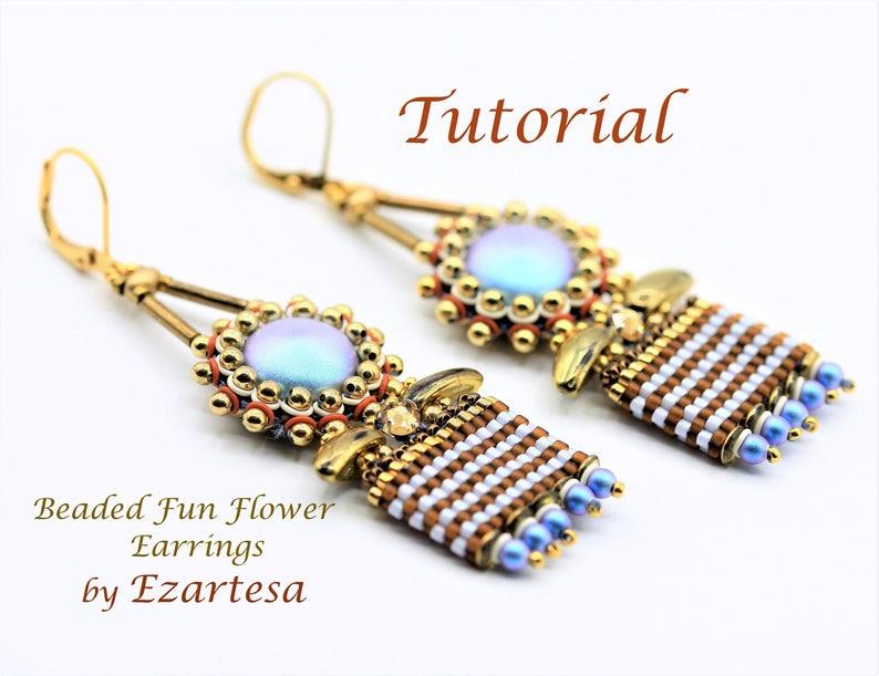 Beaded Flower Dangle Earrings Tutorial Gold Bead and Blue image 1