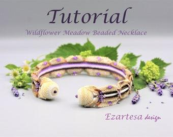 Wildflower Meadow Beaded Collar Style Necklace Tutorial, Pattern. Design by Ezartesa