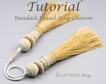 Beaded Tassel Bag Charm Tutorial, Beading Pattern by Ezartesa