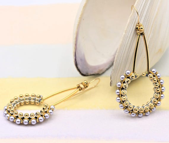 Items similar to Lavender Beaded Hoops Drop Earrings with Lavender Swarovski Crystal Pearls, Gold Plated Metal Beads and Gold Filled Earwires by Ezartesa on Etsy