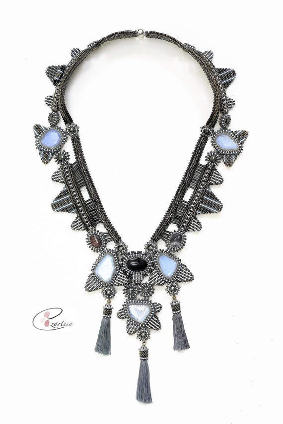 Beaded Art Deco Tassel Statement Necklace with Periwinkle, Grey, Gunmetal Glass Seed Beads and Chalcedony, Botswana Agate Beads, Cabochons.
