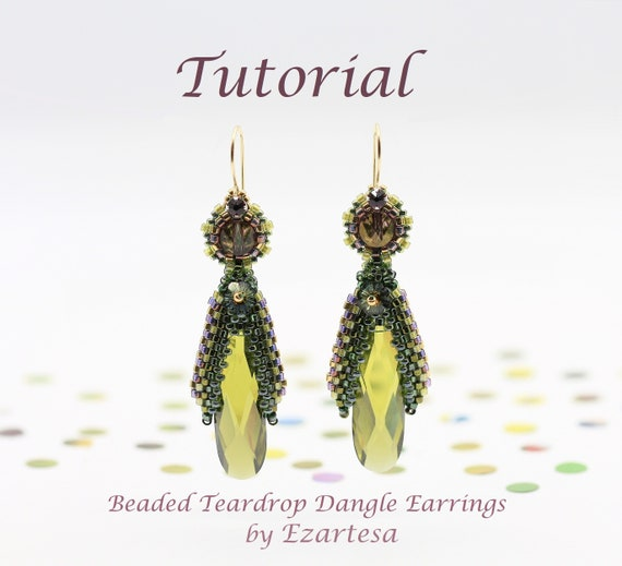 Beaded Teardrop Dangle Earrings Tutorial with Cubic Zirconia Teardrops, Swarovski Crystals and Glass Seed Beads, Beading Pattern by Ezartesa