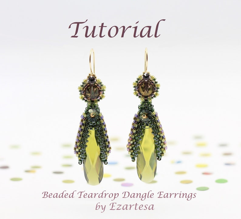 Beaded Teardrop Dangle Earrings Tutorial with Cubic Zirconia image 1