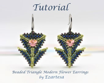 Beaded Triangle Modern Flower Earrings Tutorial with Glass Seed Beads and Cubic Zirconia Stone by Ezartesa
