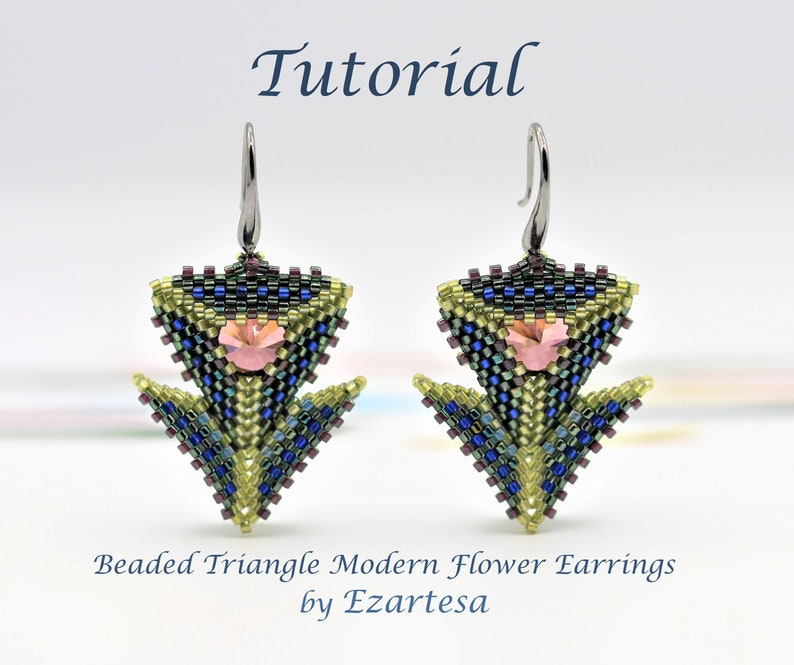 Beaded Triangle Modern Flower Earrings Tutorial with Glass image 1