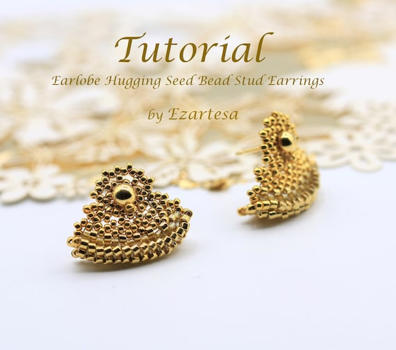 Earlobe Hugging Seed Bead Stud Earrings Tutorial by Ezartesa