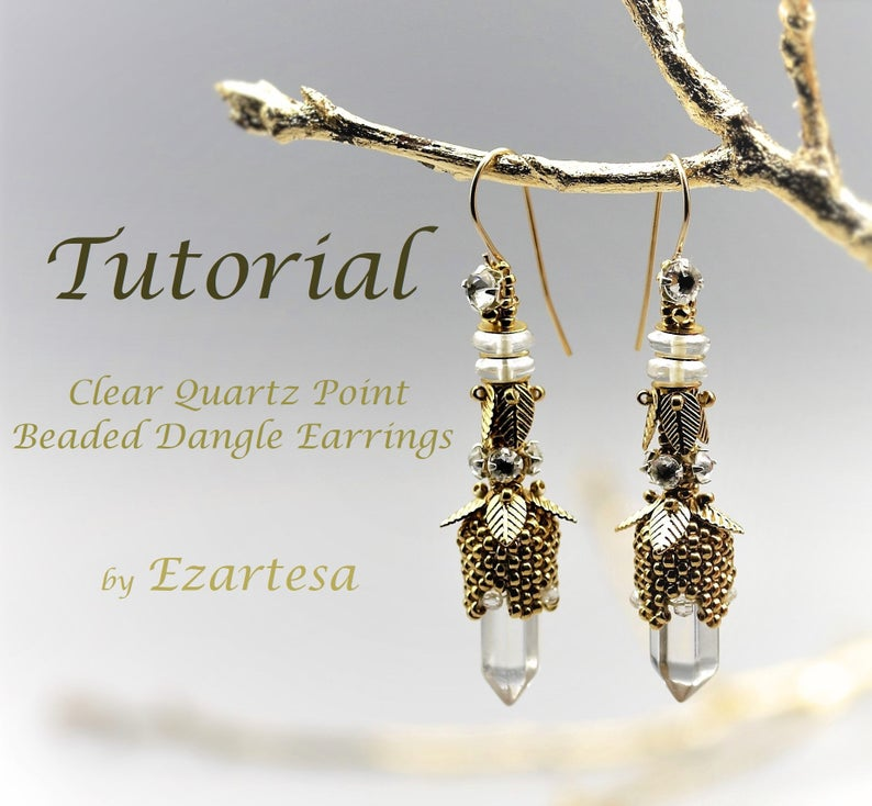 Clear Quartz Point Beaded Dangle Earrings Tutorial with Gold image 1