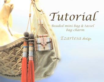 Beading Pattern, Beaded Mini Bag and Beaded Tassel Bag Charm Tutorial by Ezartesa