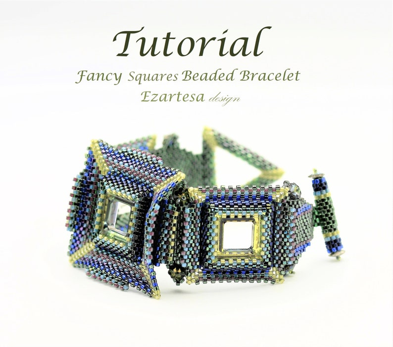 Fancy Squares Beaded Bracelet Tutorial with Glass Seed Beads image 1
