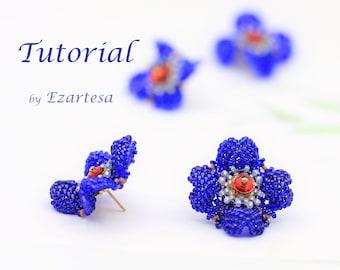 Beaded Seed Bead Flower Stud Earrings Tutorial with Cobalt Glass Seed Beads, Czech Gass  Beads Beading Pattern by Ezartesa
