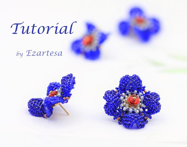 Beaded Seed Bead Flower Stud Earrings Tutorial with Cobalt image 1