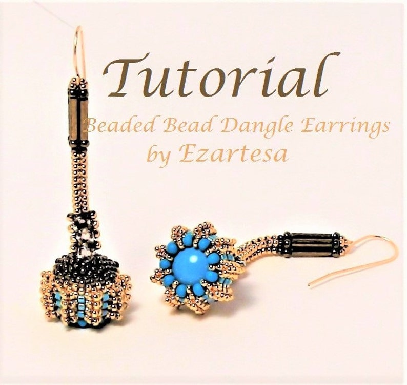 d2d70c24b9472 Beaded Bead Dangle Earrings Tutorial, Beaded Herringbone Rope Earrings  Pattern with Swarovski Crystal Pearls and Rose Montees by Ezartesa
