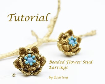 Beaded Flower Stud Earrings Tutorial with Turquoise Beads and Gold Plated Glass Seed Beads, Beading Pattern by Ezartesa
