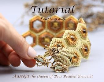 Austeja the Queen of Bees Beaded Bracelet Tutorial, Beading Pattern by Ezartesa