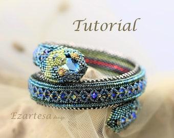 Green Serpent Beaded Wrap Bracelet Tutorial Pattern by Ezartesa