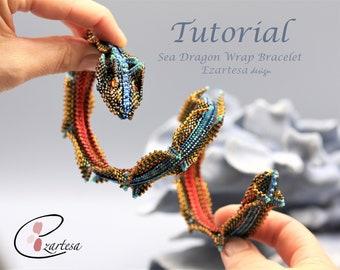 Sea Dragon Beaded Wrap Bracelet Tutorial, Beading Pattern by Ezartesa