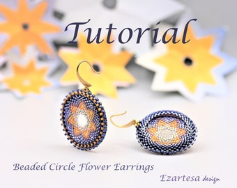 Beaded Circle Flower Earrings Tutorial, Seed Bead Pattern by Ezartesa for Beginners.