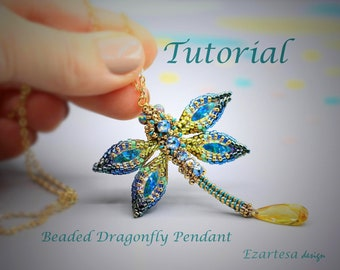 Dragonfly Pendant Beading Tutorial, Pattern by Ezartesa