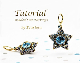 Beading Tutorial, Five Point Star Earrings with Swarovski Crystal Rivoli, Rose Montees and Glass Seed Beads by Ezartesa