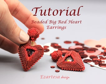 Beaded Big Red Heart Stud Dangle Earrings Tutorial, Beading Pattern by Ezartesa.