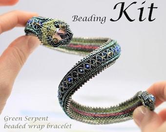 Green Serpent Beaded Wrap Bracelet Beading Kit.