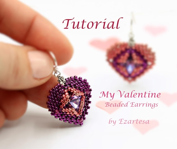 My Valentine Beaded Heart Dangle Earrings Tutorial, Seed Bead Pattern by Ezartesa