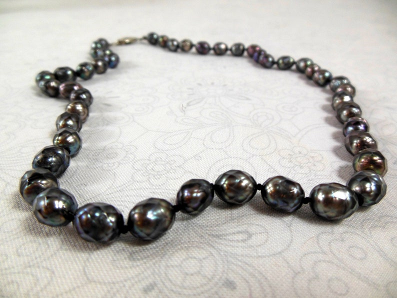 Black Peacock Ready to Gift Pearl Necklace Unusual Faceted Pearls FREE shipping
