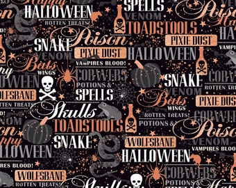 a6f43c28e3d Sale - Halloween words in Black and Copper Metallic - Potions   Skulls from  Quilting Treasures - Half Yard Bat Wings Wolfsbane Toads