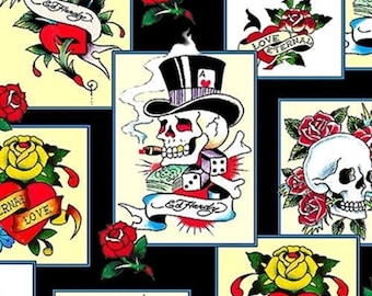 a2b914f76b1 Ed Hardy Love is True Overlapping Patches from Quilting Treasures - Half  Yard Skulls
