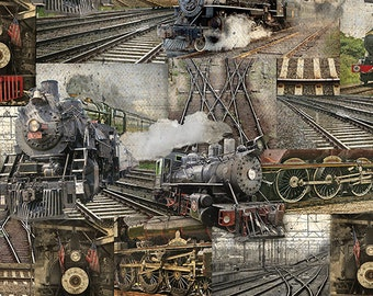 Railway Collage from the Railway Express line for Benartex - Full or Half Yard Steam Engine Scenes