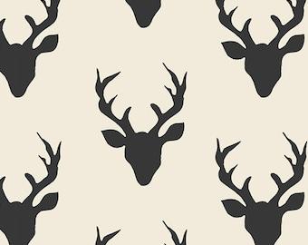 Hello Bear from Art Gallery Fabrics - 1/2 Yard Buck Forest Night - Stag Head Silhouettes on Cream