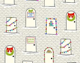 Christmas Doors on Ecru - Naughty or Nice from Ink and Arrow - Full or Half Yard Decorated Doors
