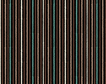 Brown and Aqua Stripe - Wisdom of the Plains from Quilting Treasures - Full or Half Yard Thin Stripe Coordinate