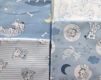101 Dalmatians from Camelot Fabrics - 4 Fat Quarters or Half Yards of Dalmatians on Blue