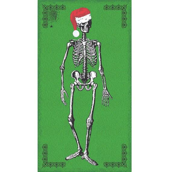 Christmas Skeleton.Chillingsworth Christmas From Andover Fabrics 24 X 44 Panel Christmas Skeleton On Green