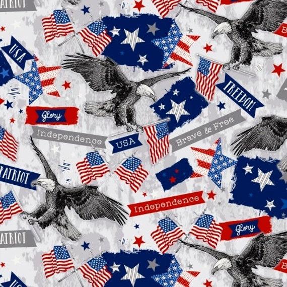 Patriotic Fabric Brave /& Free Eagle Flag Words Gray Windham YARD