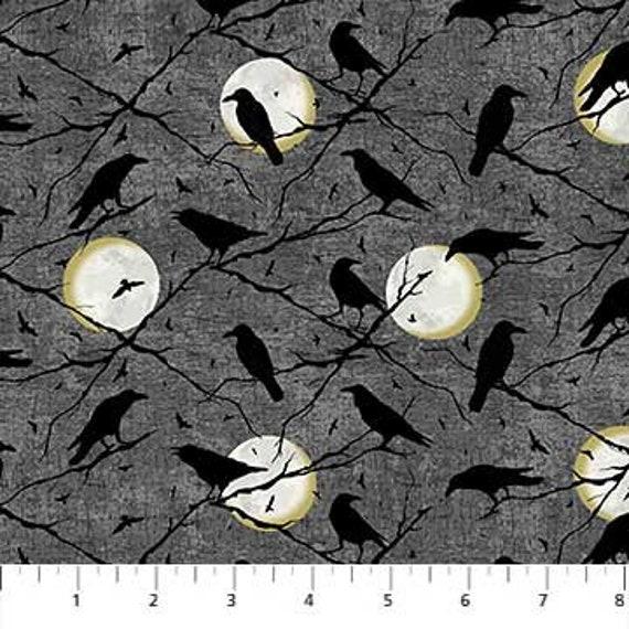 Halloween Raven Bird Moon Gray Cotton Fabric Northcott Frightful By The Yard