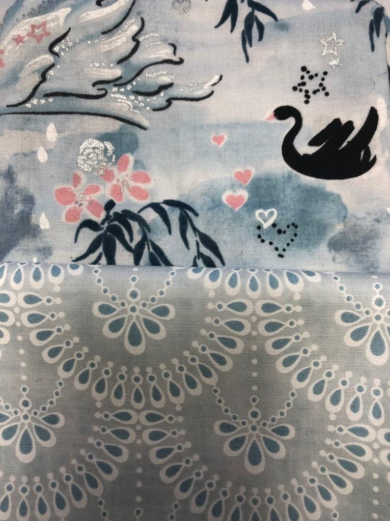 Black Roses in Blue Pink 6 Half Yard Bundle Swans Black Enchanted Lake from RJR fabrics