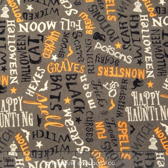 Yard Halloween Tomb Stone Graveyard Cotton Fabric Wilmington Come Sit A Spell