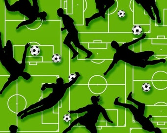 Score from Benartex - Full or Half Yard Soccer Players in Black on Lime Field