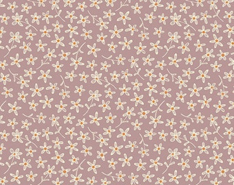 Purple Tiny Flowers - All in a Day from Henry Glass - Full or Half Yard Dusty Purple with Cream Tossed Flowers