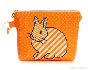 SALE Orange Apollo's Flat Bottom Zipper Pouch for Bunny Lovers (Netherland Dwarf, Orange Sherbet)