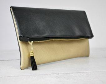 Gouden koppeling, gouden vouw over portemonnee | bruidsmeisje gouden tas