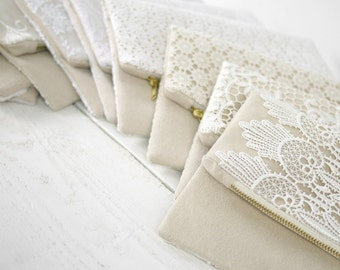 Bridesmaids lace clutch rustic chic natural white cream ivory lace evening purse