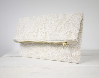 Ivory Lace Purse, Lace Wedding Clutch,  Bridesmaid Lace Clutch, Bridal Lace Clutch